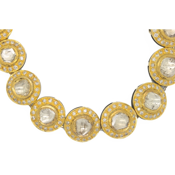 Rose Cut Diamond Necklace In Yellow Gold Over Silver - Item # HM0042 - Reliable Gold Ltd.