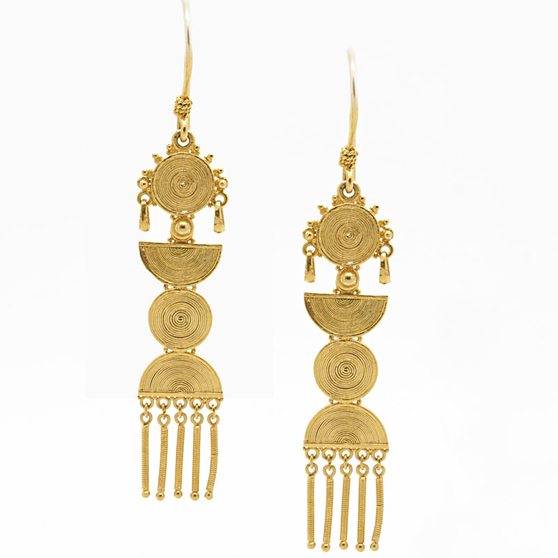 22K Yellow Gold Drop Earrings - Item # ER2802A - Reliable Gold Ltd.
