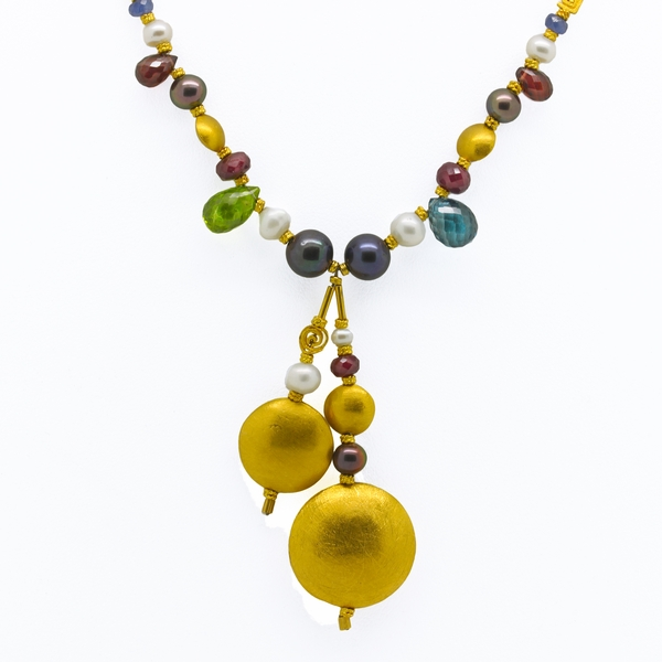 22K Gold Necklace With Multicolor Gems & Pearls - Item # JM0027 - Reliable Gold Ltd.