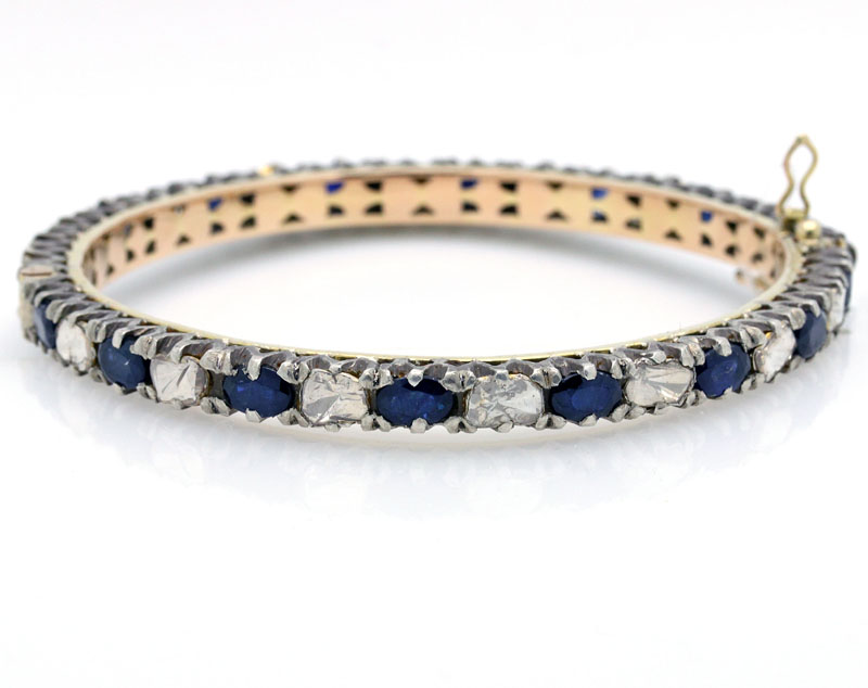 Outstanding Modern Sapphire And Diamond Bangle Bracelet - Item # B5133 - Reliable Gold Ltd.