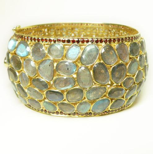 Sensational Labradorite And Garnet Cuff Bracelet - Item # B5282 - Reliable Gold Ltd.
