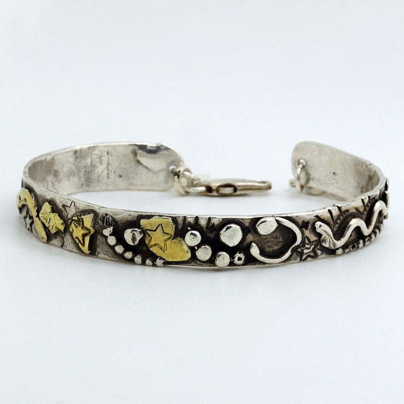 Funky Handmade Thin Cuff Bracelet In Silver And Gold - Item # B5336 - Reliable Gold Ltd.