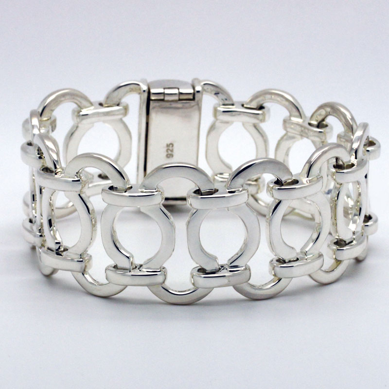 Substantial Fancy Link Sterling Bracelet - Item # B5348 - Reliable Gold Ltd.