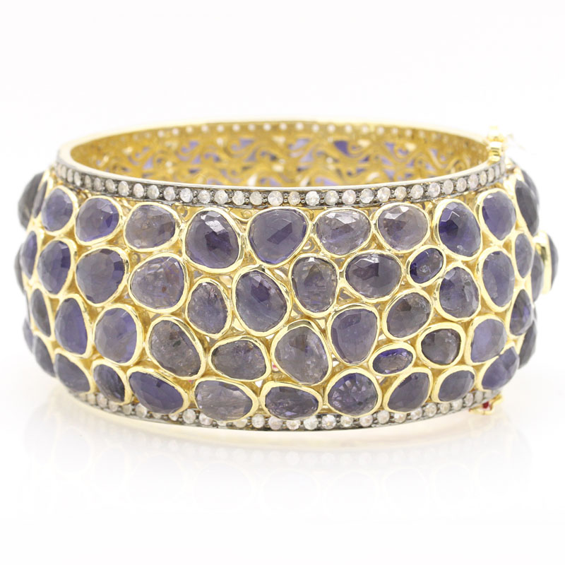 Magnificent Iolite And White Sapphire Cuff Bracelet - Item # B5363 - Reliable Gold Ltd.