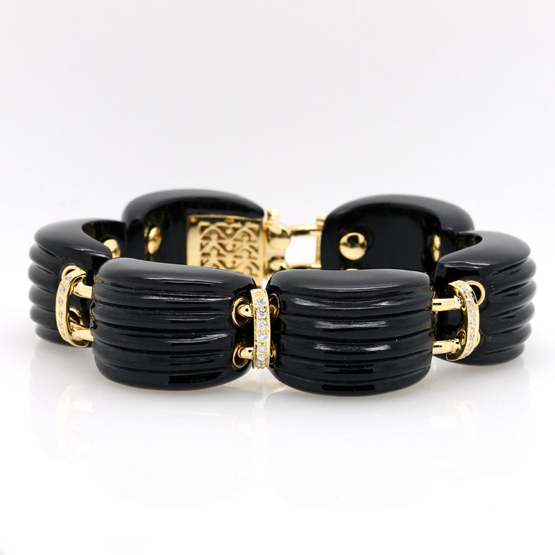 Onyx And Diamond Chunky Link Bracelet - Item # B5364 - Reliable Gold Ltd.