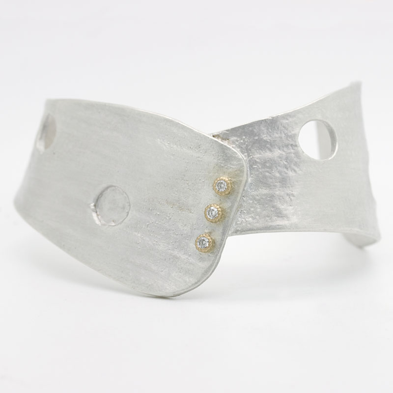 Sterling Silver And Gold Asymmetric Cuff Bracelet With Diamonds - Item # B5368 - Reliable Gold Ltd.