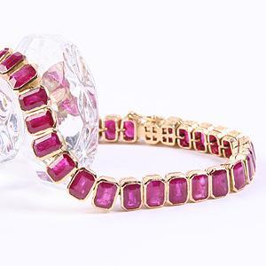 Emerald Cut Ruby Bracelet - Item # BRGEMM - Reliable Gold Ltd.