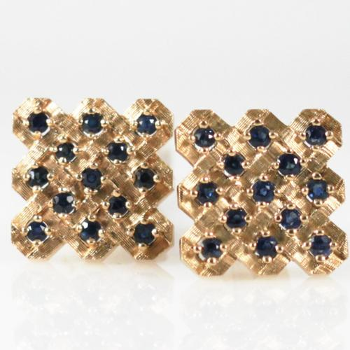 Lattice Cufflinks With Sapphires - Item # CL2492A - Reliable Gold Ltd.