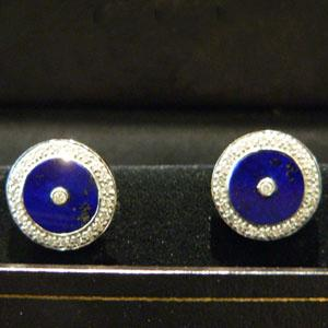 Lapis and Diamond Cufflinks - Item # CL396 - Reliable Gold Ltd.