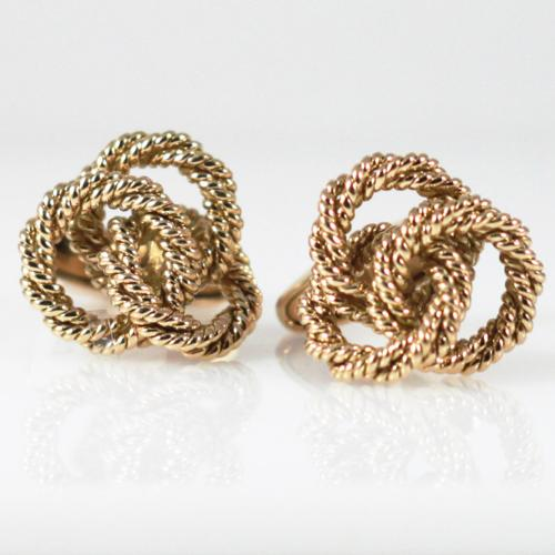 Brilliant Rope Knot Cufflinks - Item # CL509 - Reliable Gold Ltd.