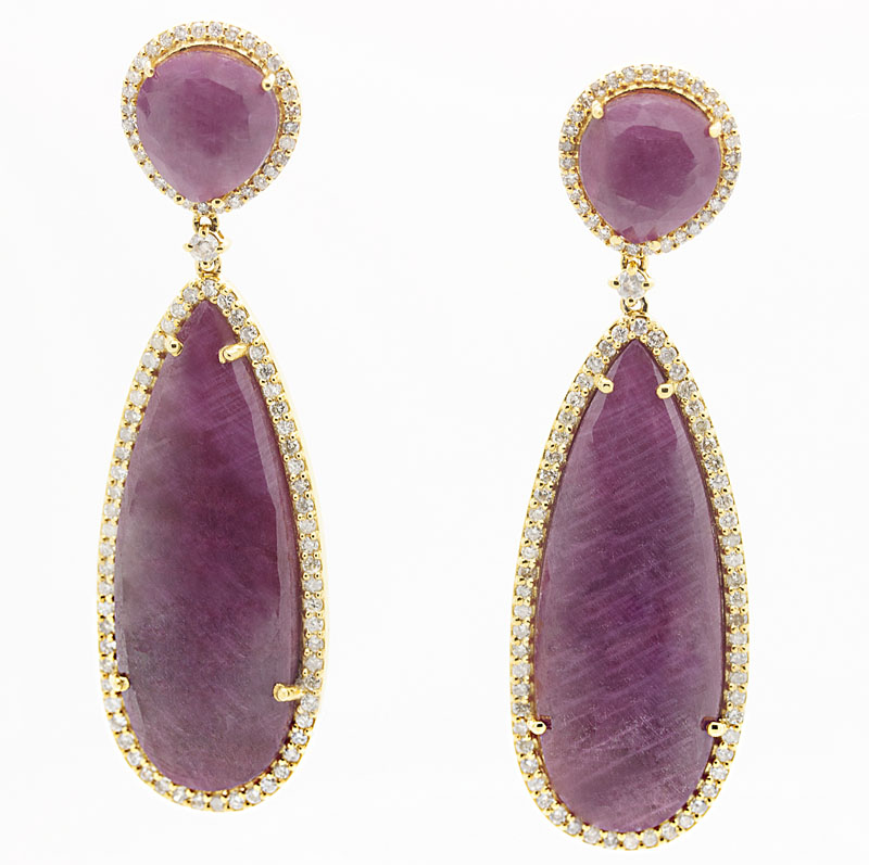 Dazzling Ruby And Diamond Drop Earrings - Item # E4966 - Reliable Gold Ltd.