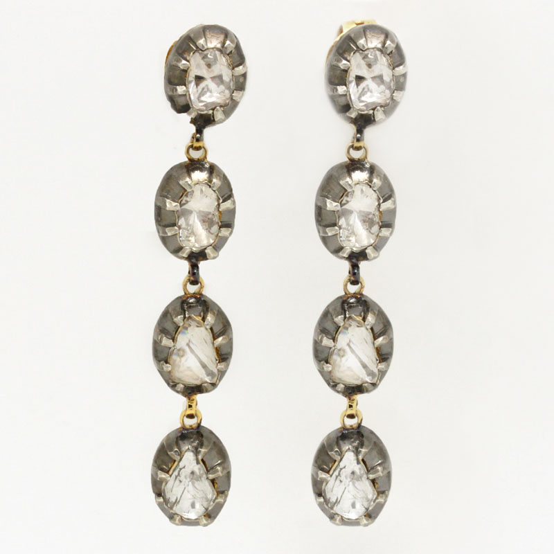 Large Rose Cut Diamond Drop Earrings - Item # ER150-00094 - Reliable Gold Ltd.