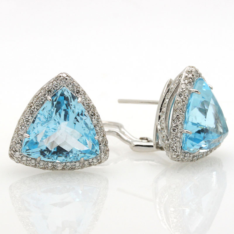 Dazzling Blue Topaz And Diamond Triangular-Shaped Earrings - Item # ER2742A - Reliable Gold Ltd.