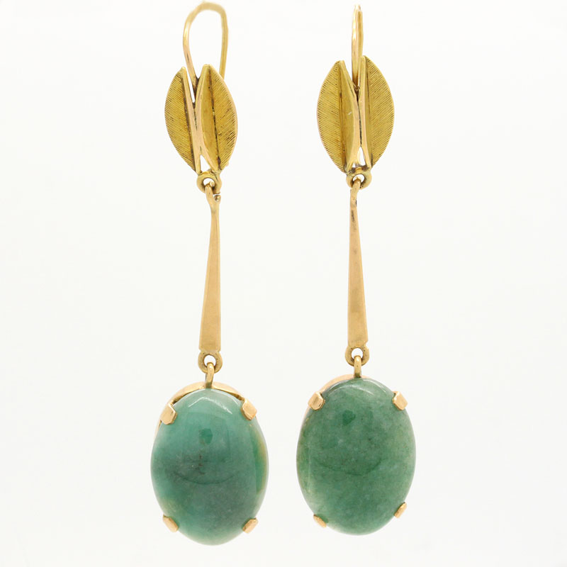 Jade Drop Earrings - Item # ER2744A - Reliable Gold Ltd.