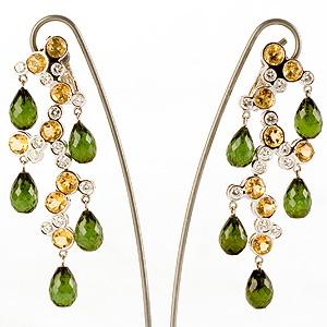 Tourmaline, Citrine and Diamond Chandelier Earrings - Item # ER3078 - Reliable Gold Ltd.