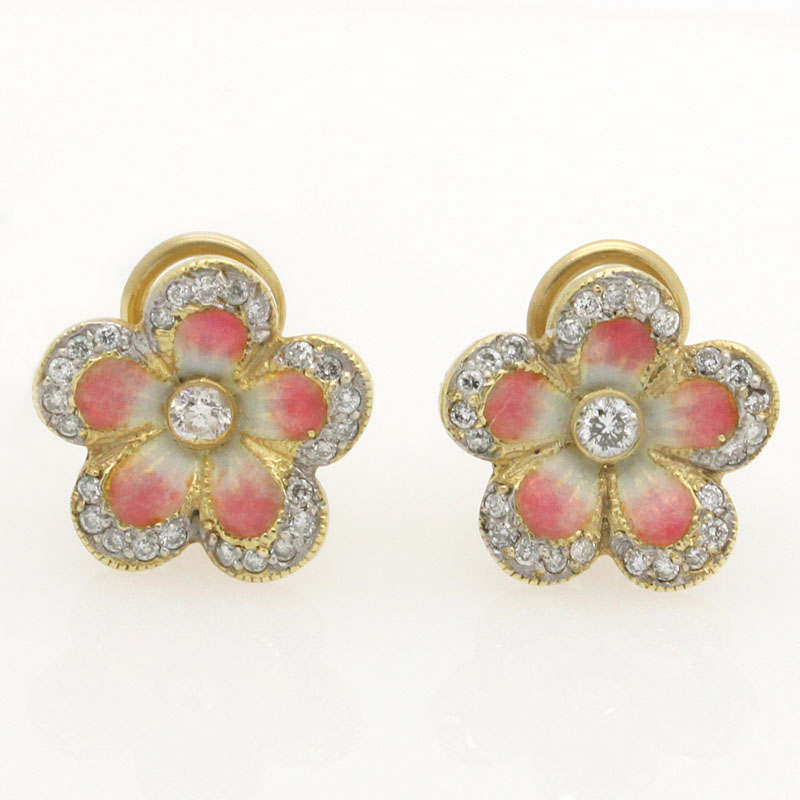 Pink Enamel And Diamond Flower Stud Earrings - Item # ER4006 - Reliable Gold Ltd.