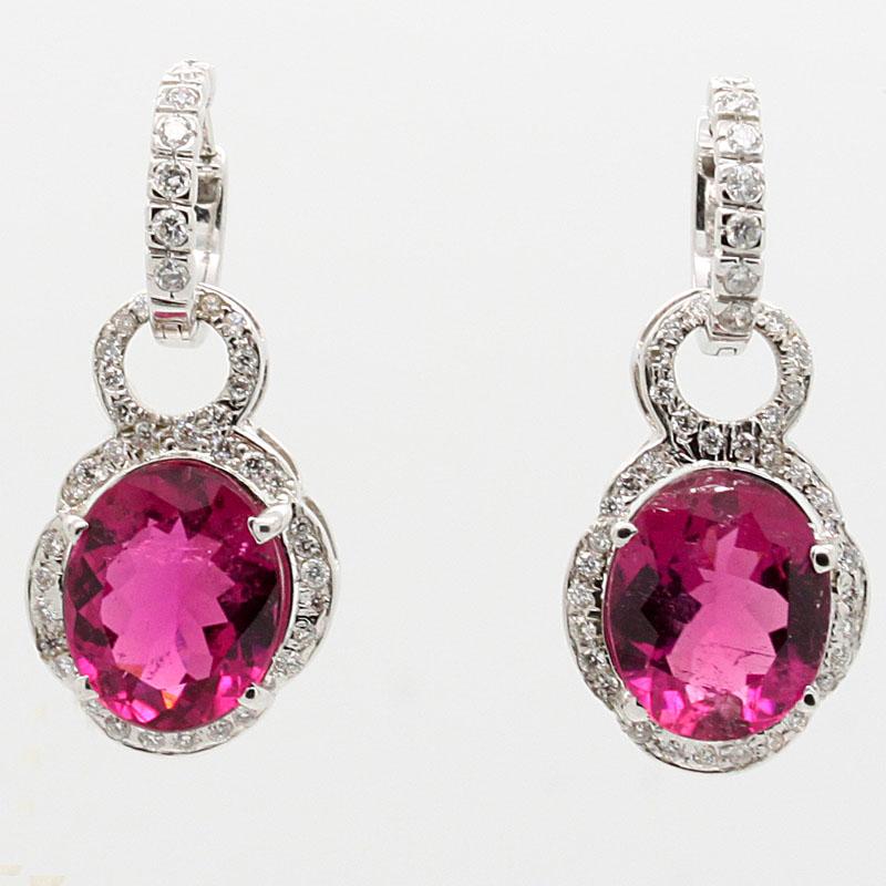 Rhodolite Garnet And Diamond Convertible Earrings - Item # ER4577 - Reliable Gold Ltd.
