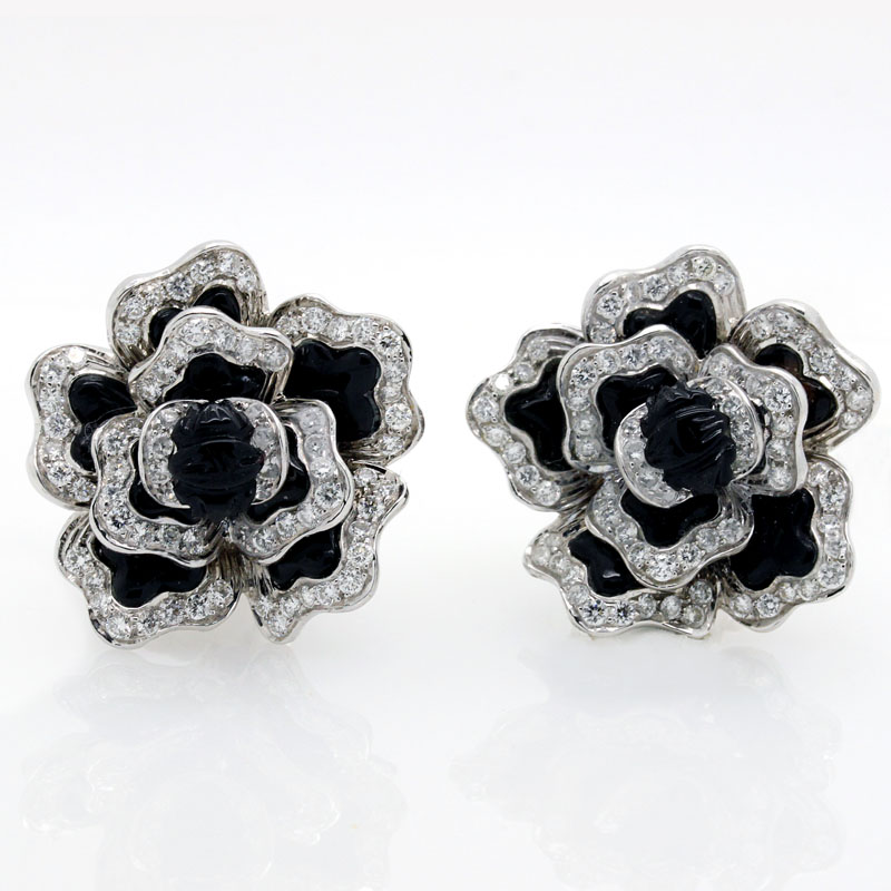 Onyx And Diamond Flower Earrings - Item # ER4634 - Reliable Gold Ltd.