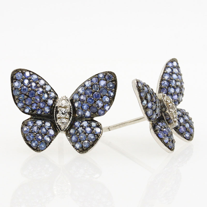 Sapphire Butterfly Earrings In Sterling Silver - Item # ER4665 - Reliable Gold Ltd.