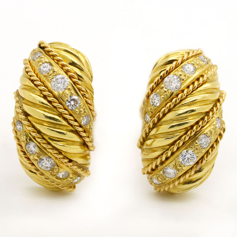 Stunning And Vibrant Diamond Earrings - Item # ER4699 - Reliable Gold Ltd.