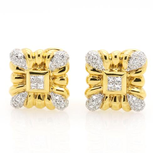 Classic Diamond Earrings In Yellow Gold - Item # ER4715 - Reliable Gold Ltd.