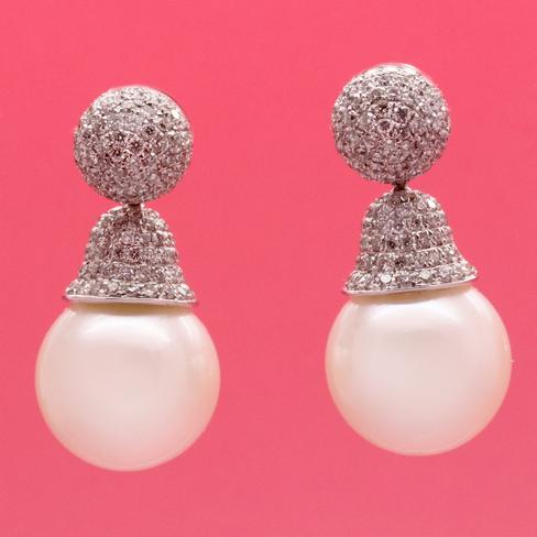 Elegant South Sea Pearl Drop Earrings With Diamonds - Item # ER4795 - Reliable Gold Ltd.