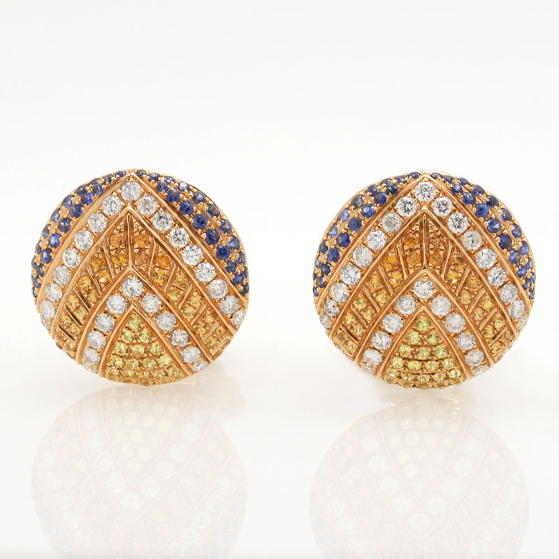 Jeweled Shield Design Sapphire And Diamond Earrings - Item # ER4849 - Reliable Gold Ltd.