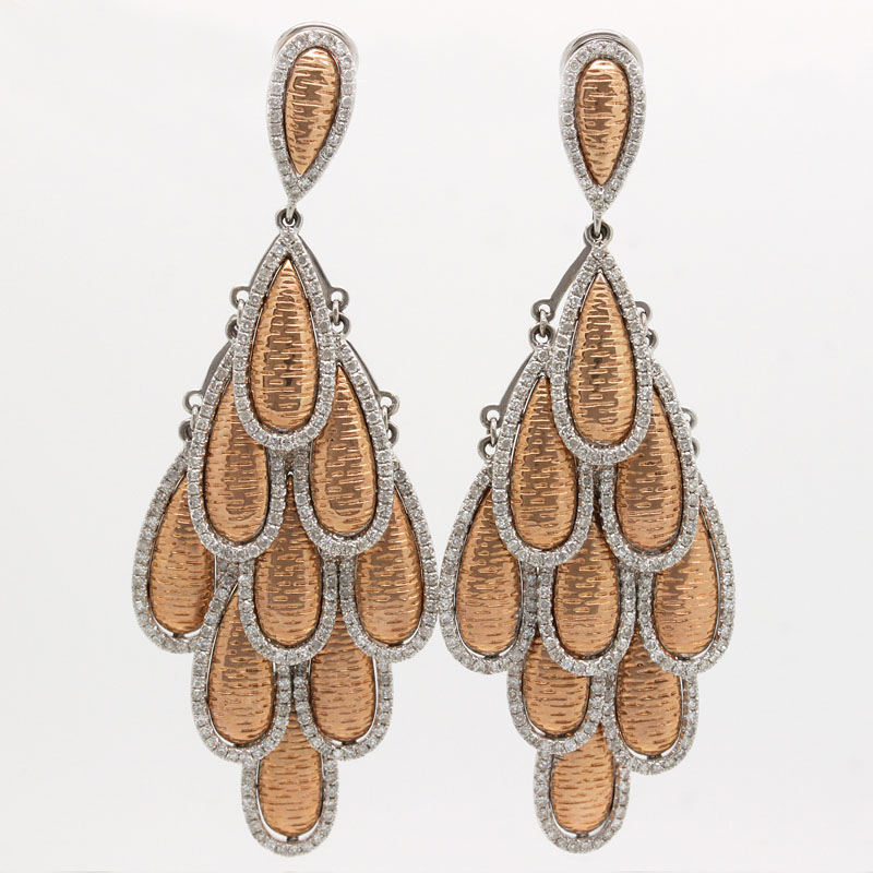 Magnificent Diamond And Rose Gold Chandelier Earrings - Item # ER4883 - Reliable Gold Ltd.