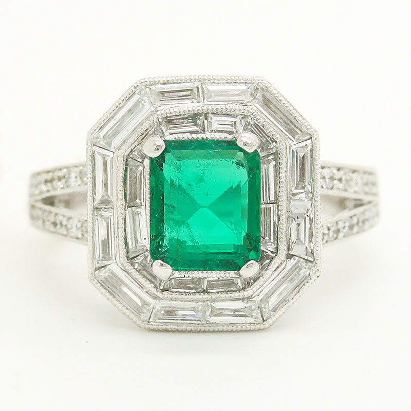 Deco-Style Large Emerald Ring Surrounded By Baguette And Round Diamonds - Item # R6242 - Reliable Gold Ltd.