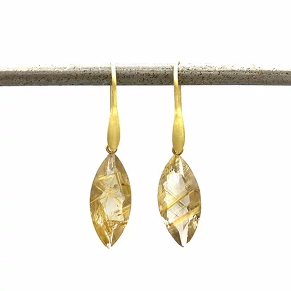 Marquise Rutilated Quartz Drop Earrings - Item # OEM025 - Reliable Gold Ltd.