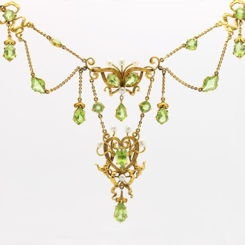 Period Victorian Peridot and Pearl Necklace - Item # N-E - Reliable Gold Ltd.