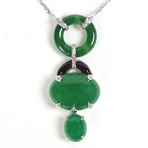 Jade, Diamond And Onyx Necklace - Item # N2298 - Reliable Gold Ltd.