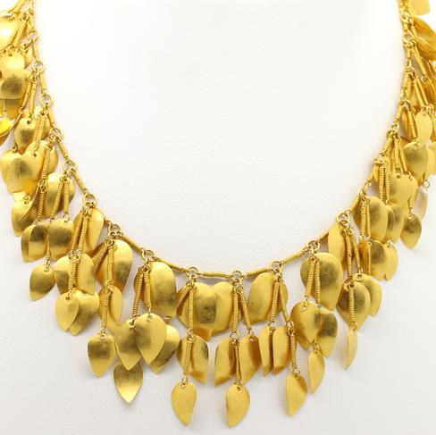 Gold Leaf Bib Necklace - Item # N2366 - Reliable Gold Ltd.