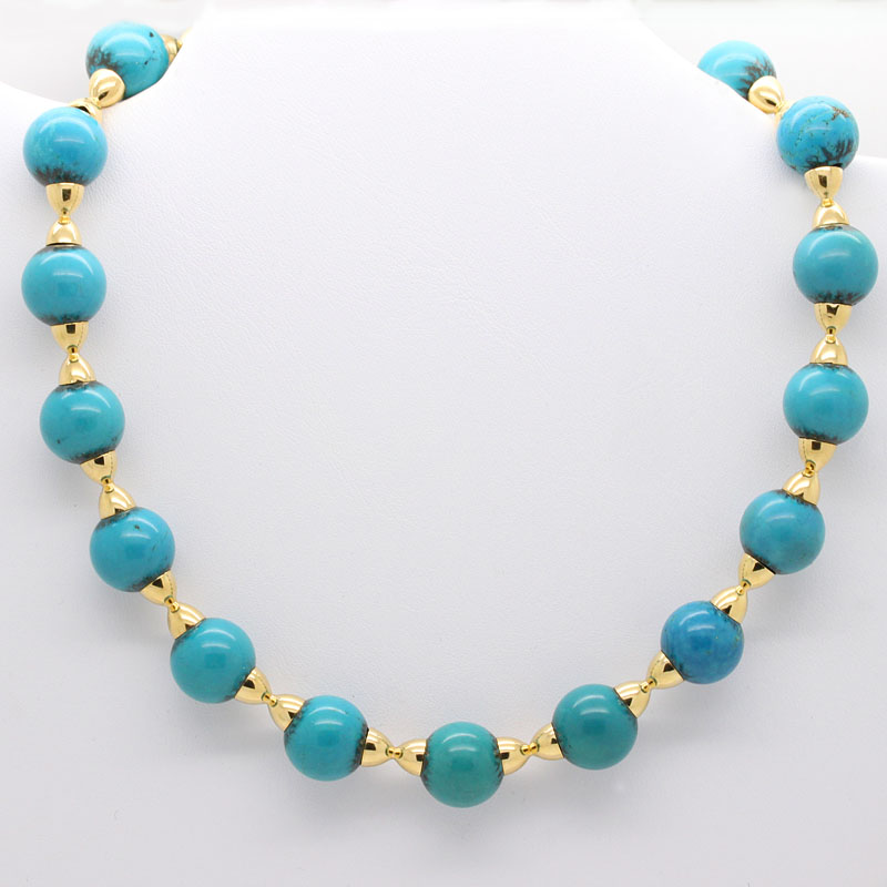 Estate Turquoise And Yellow Gold Necklace - Item # N2891 - Reliable Gold Ltd.
