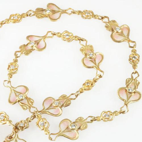 Art Nouveau Style Plique-A-Jour Enameled Necklace - Item # N3000 - Reliable Gold Ltd.
