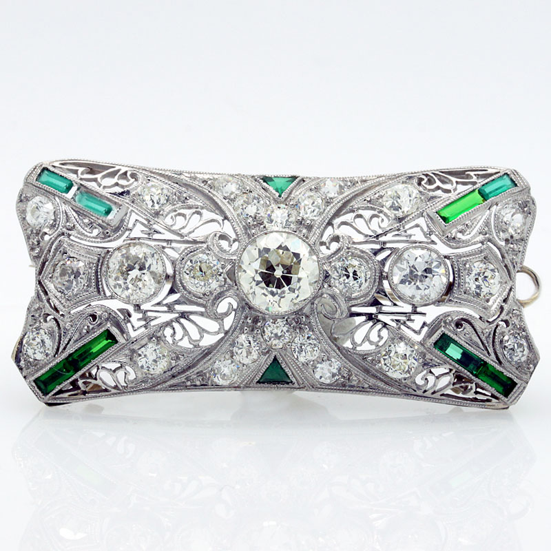 Platinum, Diamond And Emerald Deco Pin - Item # P1839A - Reliable Gold Ltd.