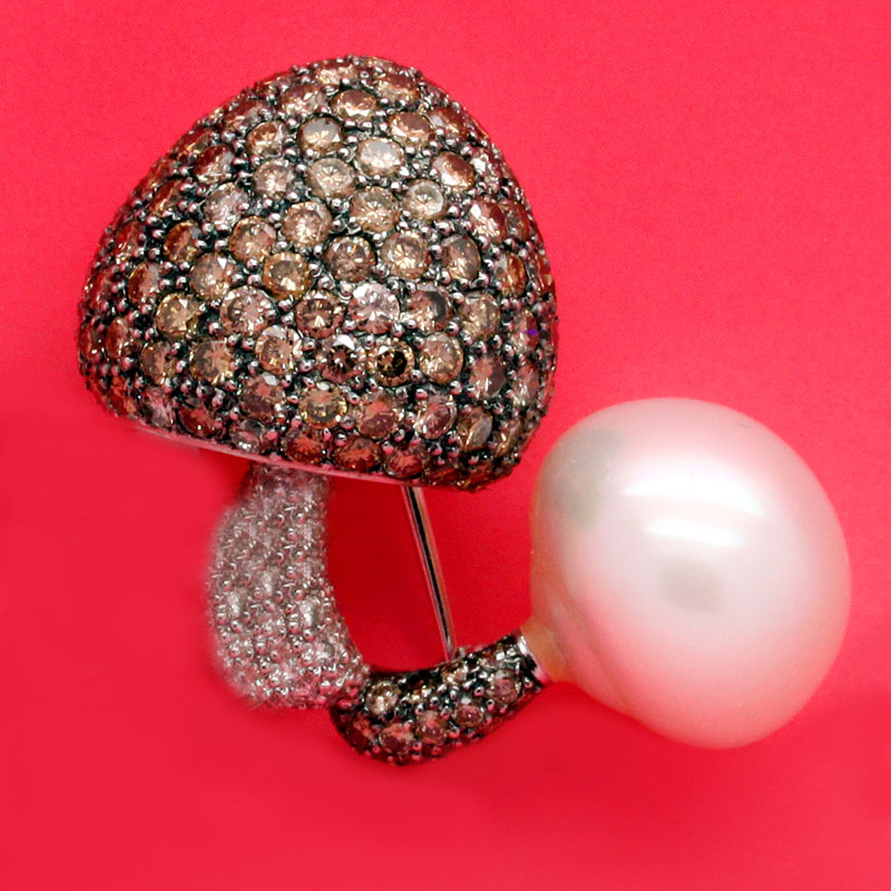 Pearl And Brown And White Diamond Mushroom Pin - Item # P2929 - Reliable Gold Ltd.