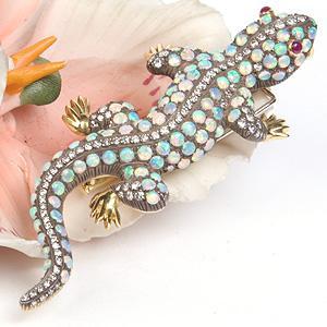 Opal Encrusted Salamander Pin - Item # P2993 - Reliable Gold Ltd.