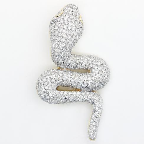 Exquisite Diamond 18K Snake Pin - Item # P3000 - Reliable Gold Ltd.