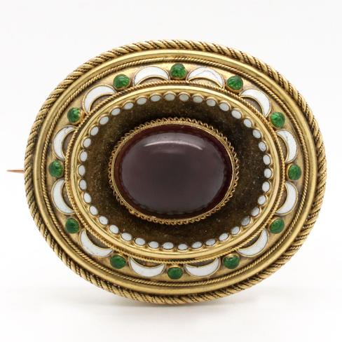 Antique Victorian Garnet Brooch - Item # P3054 - Reliable Gold Ltd.