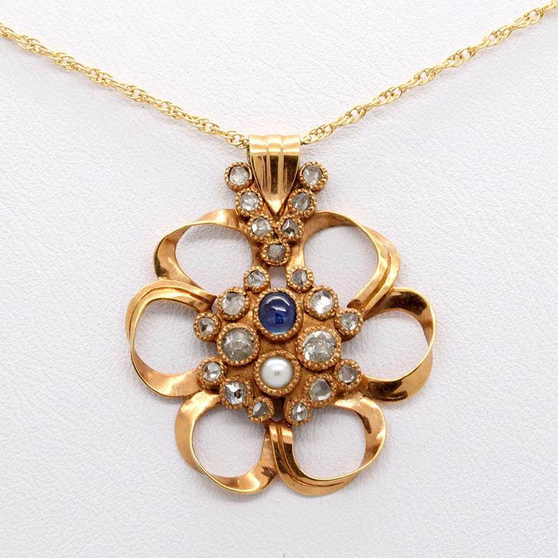 Estate Openwork Pendant With Rose Cut Diamonds, Sapphire And Pearl - Item # PE23500073 - Reliable Gold Ltd.