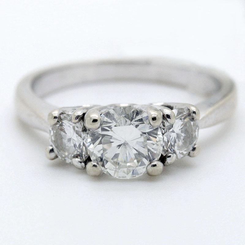 Estate Three Stone Round Diamond Ring - Item # R1289A - Reliable Gold Ltd.