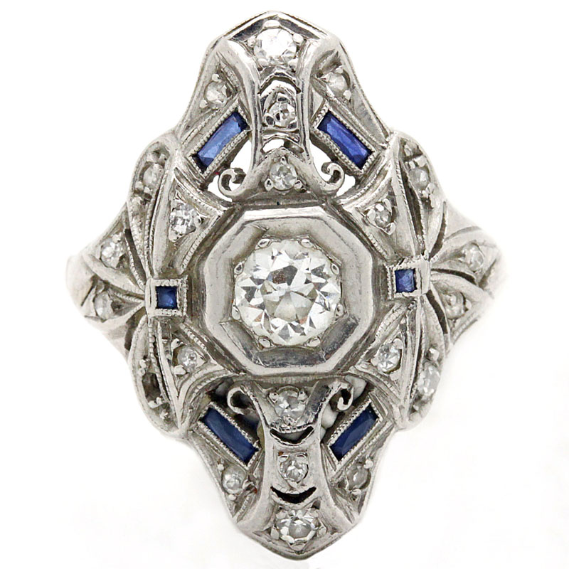 Deco Diamond And Sapphire Shield Ring - Item # R2328A - Reliable Gold Ltd.