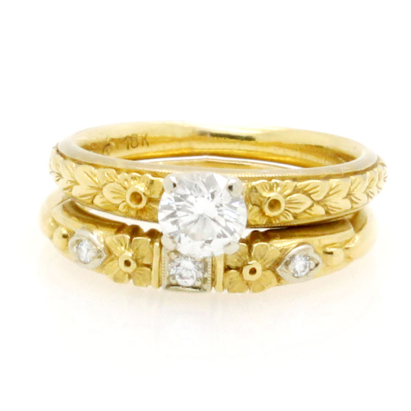 Sweet Antique Engagement Ring And Wedding Band Set - Item # R2639A - Reliable Gold Ltd.
