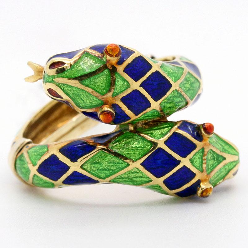 Estate Enamel Double Snake Ring - Item # R2713A - Reliable Gold Ltd.