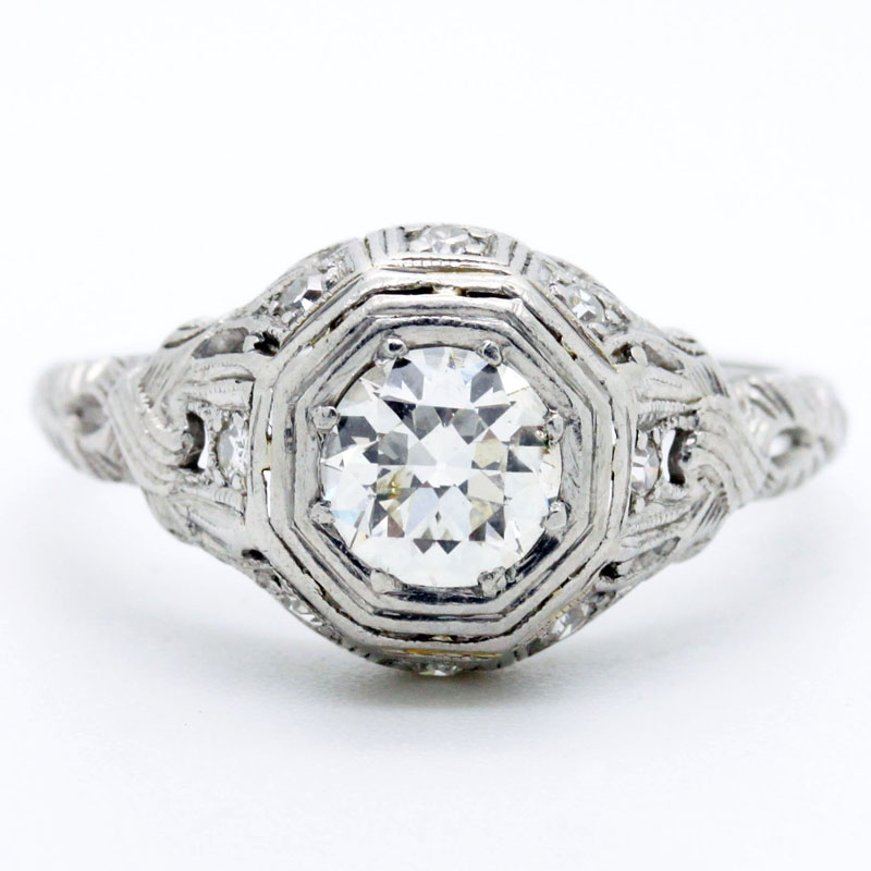 1920's Round Diamond Engagement Ring - Item # R2738A - Reliable Gold Ltd.