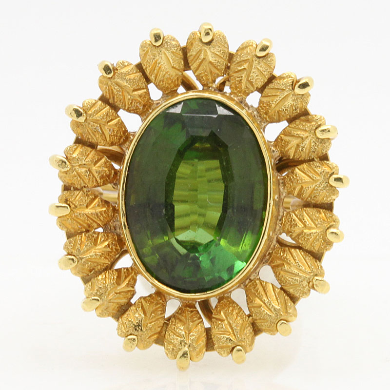 Green Tourmaline Estate Flower Ring In Yellow Gold - Item # R2748A - Reliable Gold Ltd.
