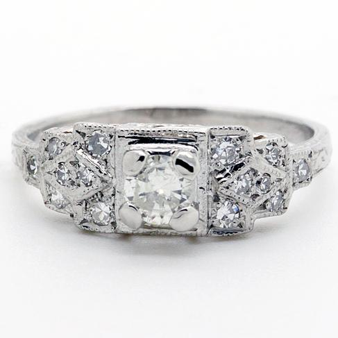 Platinum And Diamond Square-Headed Antique Reproduction Ring - Item # R5823 - Reliable Gold Ltd.