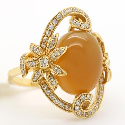 Apricot Moonstone Set In 14k Yellow Gold - Item # R6028 - Reliable Gold Ltd.