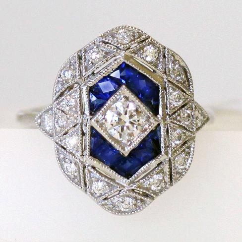Gorgeous Art Deco Style Sapphire And Diamond Ring - Item # R6114 - Reliable Gold Ltd.